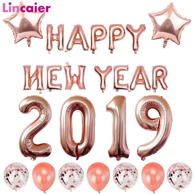 Lincaier Happy New Year 2019 Helium Balloons Eve Party Decor 2018