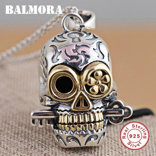 68896639a983 Mejor precio BALMORA 100% Real 925 joyería de plata esterlina cráneo ...