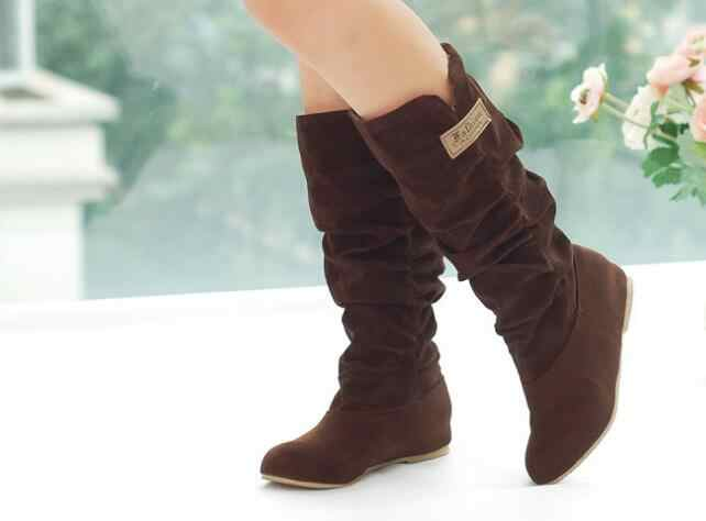 294e582fc21f4 ... New Big Size 35-43 Hot Fashion Flat Boots Women Snow Boots and Slip- ...