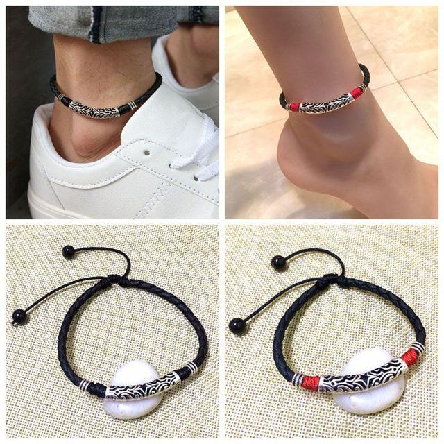 d7805a31460b Nuevo 1 Pc de moda Vintage pulsera de joyería para hombre mujer cuerda cuero  pulsera de