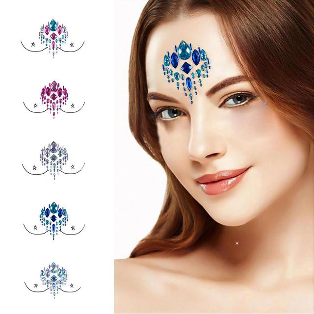 Adhesive Face jewels Gems Temporary Tattoo Face Jewels Festival Party Body  Gems Rhinestone Flash Tattoos Stickers bb2c4bab42fa