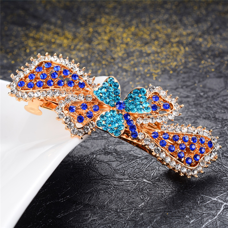Beautiful Colorful Rhinestone Crystal Flowers Barrettes Hair Jewelry Large Hair Clips Wedding Hair Accessories Hairpin Ornaments