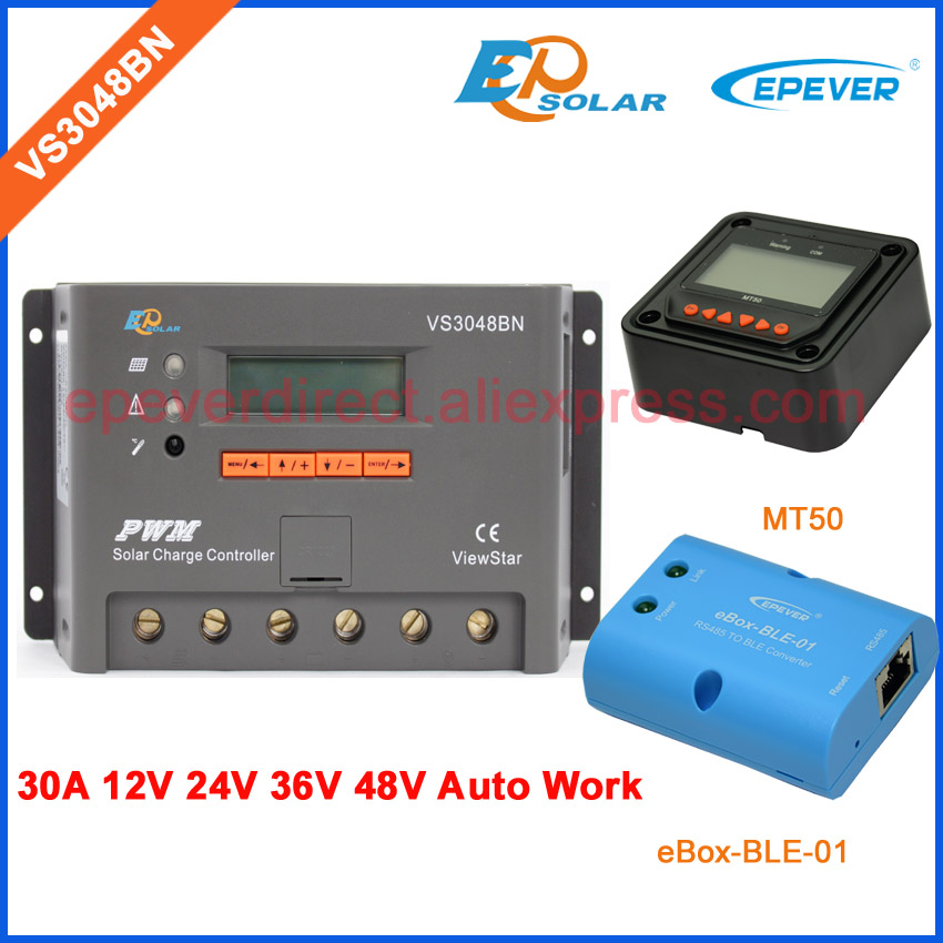 PWM charger battery 12V 24V 36V 48V auto type EPEVER 30A VS3048BN 30amps EPsolar controller MT50 Meter and ble eBOX adapter