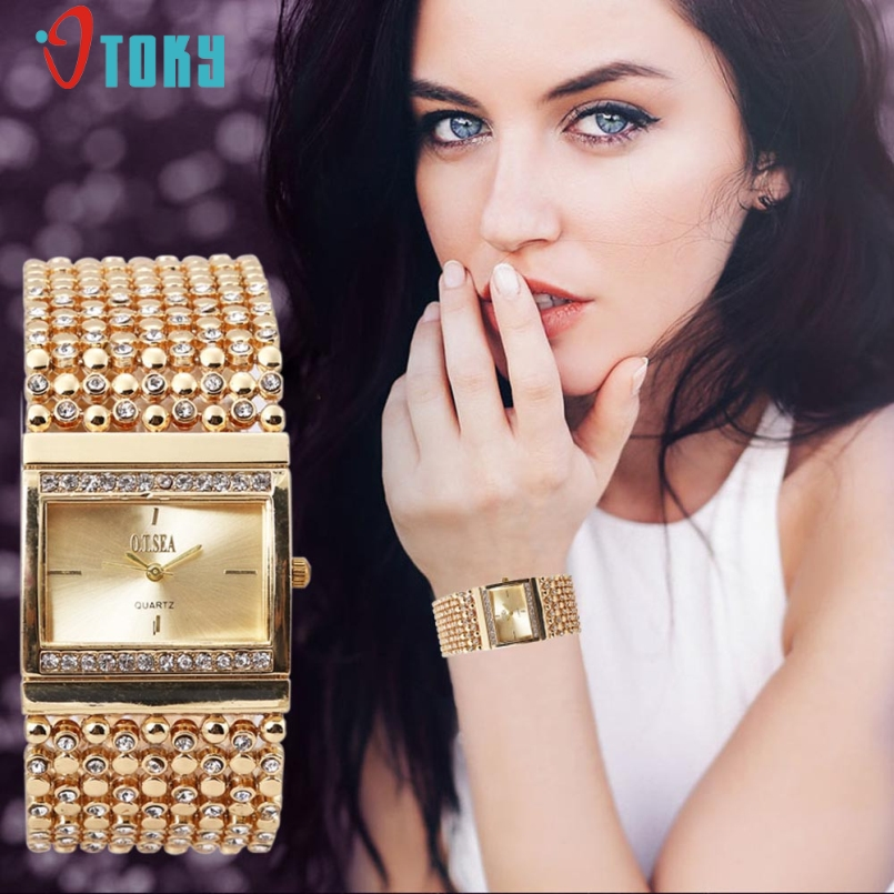 Excellent Quality Luxury Women Dress Watch Rhinestone Stainless Steel Crystal Quartz Watches Women Wrist Watch Female Jan-11