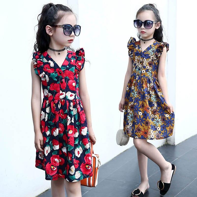 Children Summer Dress Girl Floral Cotton Kids Dresses For Girls Flower Sleeveless Girls Dresses Age 4 6 8 10 12 14