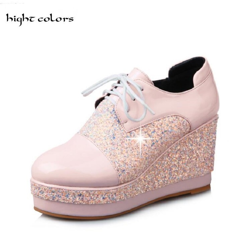 32~48 Bling Sequined Cloth Pumps 2018 Wedges BLACK PINK Platform Shoes Woman Casual Lace-Up High Heels High Quality Shoe TB139