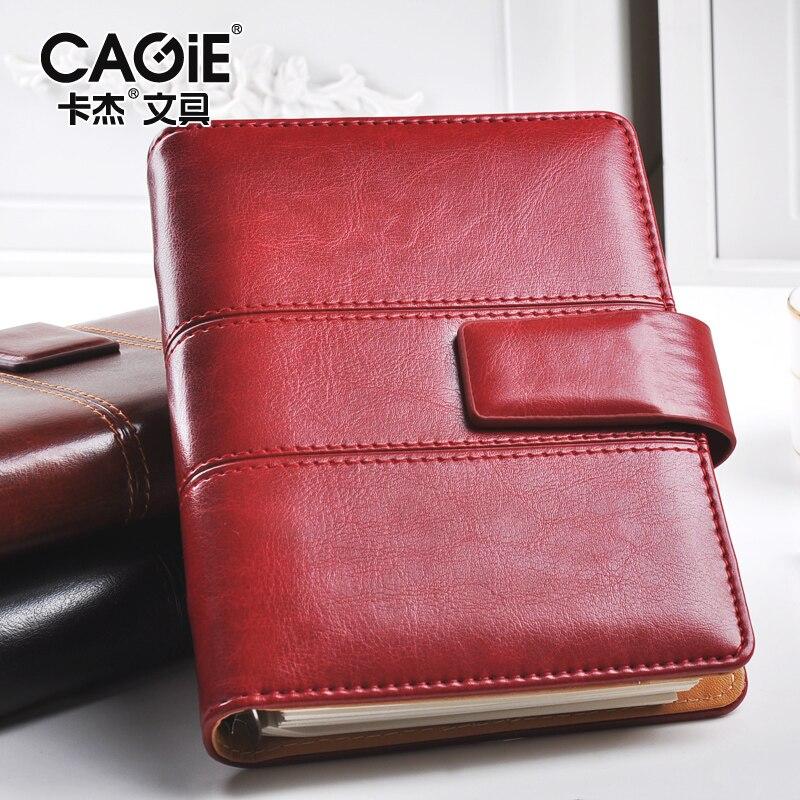 CAGIE Vintage Leather Notebook a5 Spiral Filofax Journal Calendar 2018 a6 Notebook Planner Binder Diary Retro Agenda Organizer