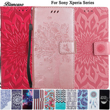 Pattern Case For Sony Xperia Z3 Z4 Z5 Compact E6 L1 XA XA1 Z6 XA2 XZ1 L2 Z3+ L55T L55U Flip Wallet Leather Cover Stand Cases B00