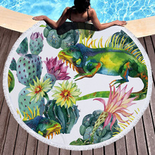 Love Flower Cactus Round Beach Towel Valentines Day Gift Thick Large Towels With Tassels Microfiber Picnic Mat Shawl Blankets
