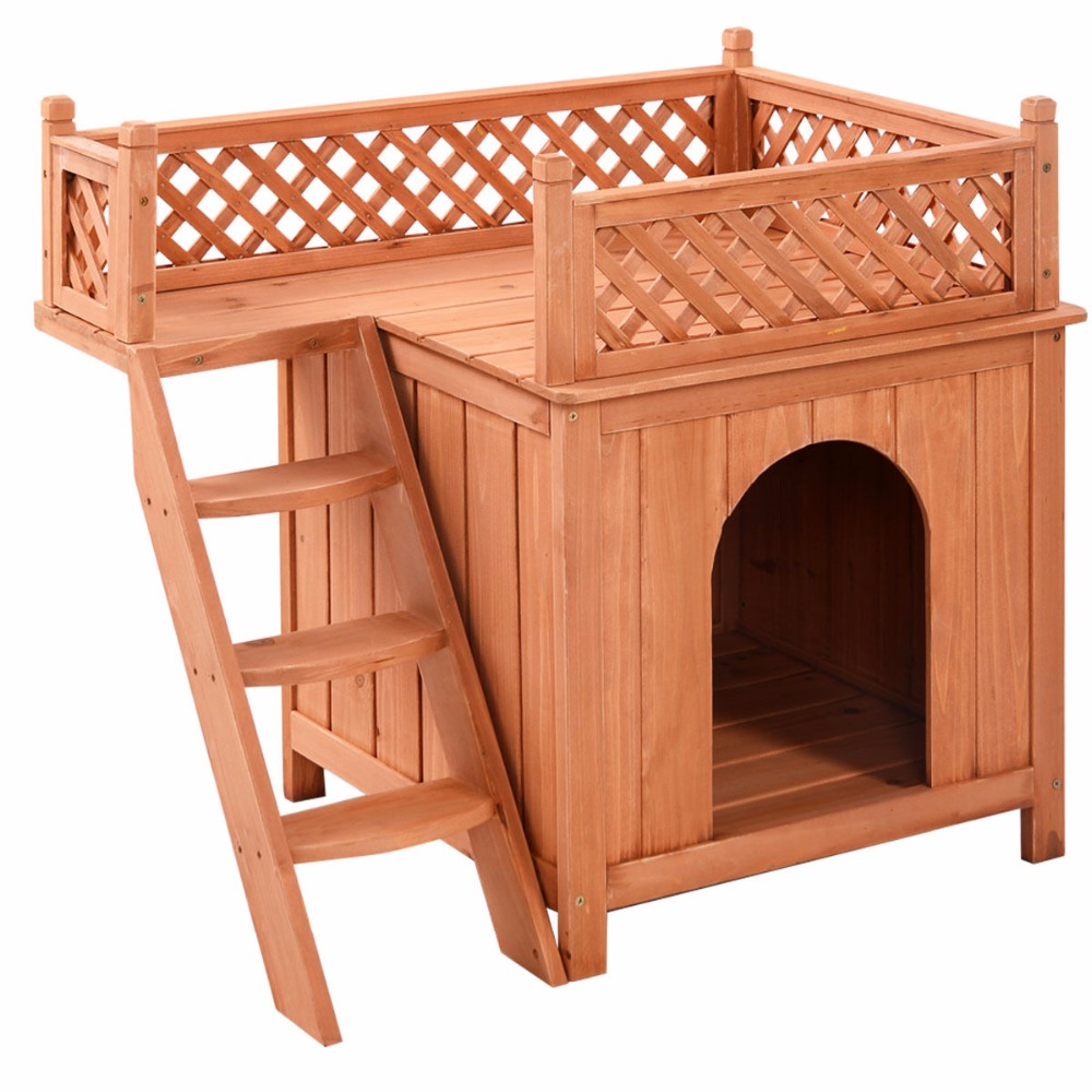 Wooden Puppy Pet <font><b>Dog</b></font> <font><b>House</b></font> <font><b>Wood</b></font> Room In/<font><b>Outdoor</b></font> Raised Roof Balcony Bed Shelter PS6091 image