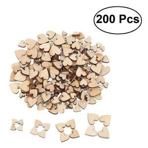 200 Pcs Blank Heart Wood Slices Discs for DIY Crafts Embellishments