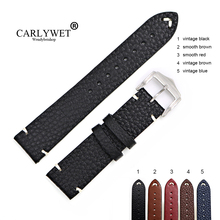 CARLYWET 20 22 24mm Man Women Handmade C Leather Brown Black Red Blue VINTAGE Wrist Watch Band Strap Belt Silver Polished Buckle
