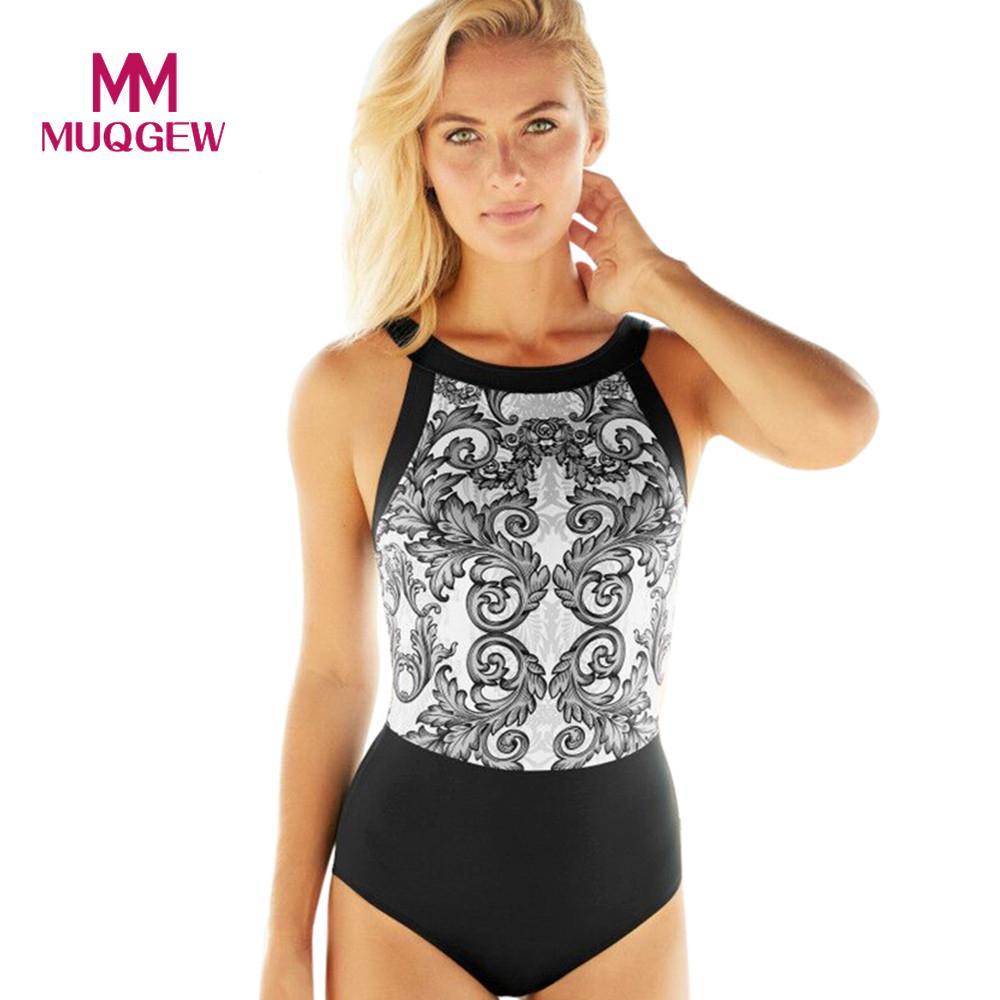 MUQGEW 2018 Hot Sale Sexy High Cut Swimsuit One Piece Swimwear Women Padded Beach Floral Printed Bathing Suit Brazilian Monokini