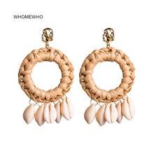 купить Gold Metal Summer Beach Handmade Braided Raffia Natural Seashell Shell Earrings Korean Fashion Conch Sea Snail Jewelry Accessory дешево