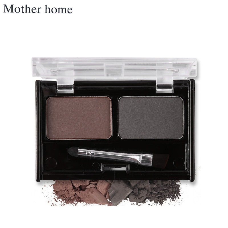 Mother Home Eye Brow Dye Makeup 2 Color Eyebrow Powder Palette Waterproof Eyebrow Tattoo Cake Shadow Kit with Brush 2