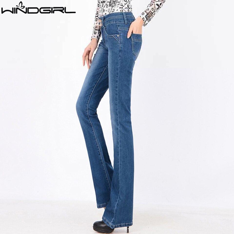 windgirl high waist bootcut jeans women flare jean blue. Black Bedroom Furniture Sets. Home Design Ideas