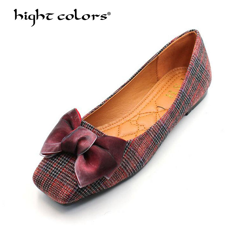 Europe and America 2018 New Fashion Spring Women Flats Loafers Ladies Bow Square Toe Slip-On Flat Women's Shoes Plus Size 35-41 new round toe slip on women loafers fashion bow patent leather women flat shoes ladies casual flats big size 34 43 women oxfords