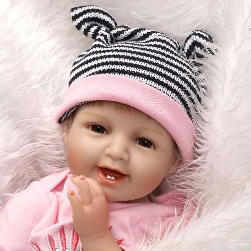 Smiling Lifelike 22 Inch 55 cm Reborn Baby Doll Girl Handmade Silicone Newborn Babies Dolls With Dress Kids Birthday Xmas Gift can sit and lie 22 inch reborn baby doll realistic lifelike silicone newborn babies with pink dress kids birthday christmas gift