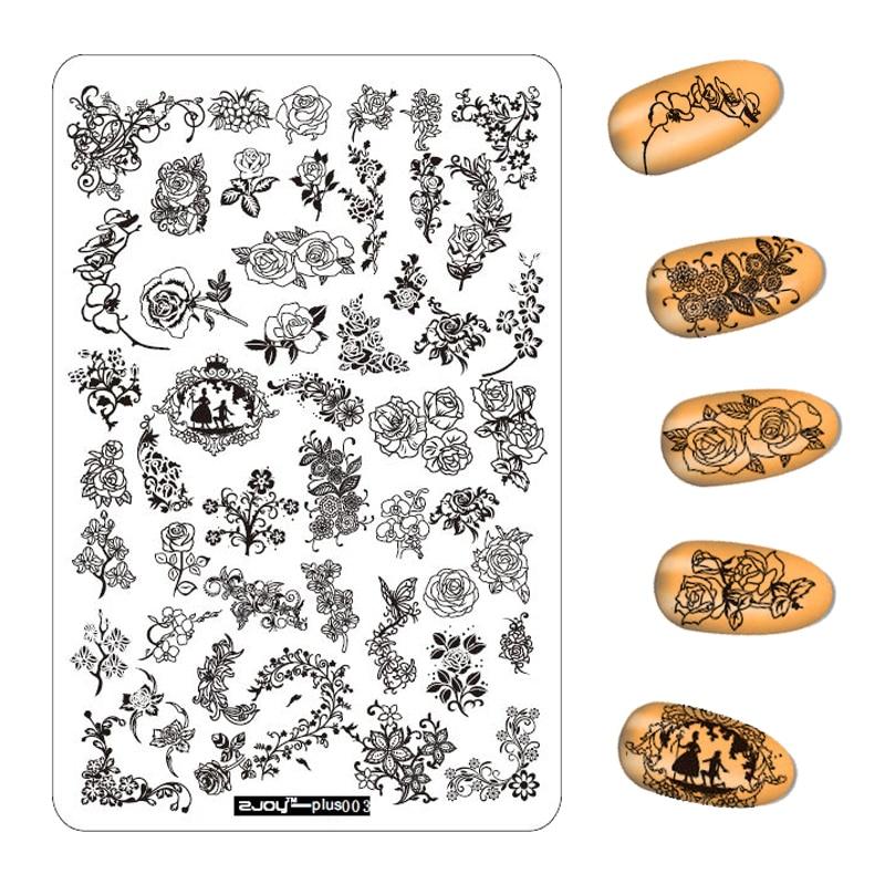 3 Stks / partij 9.5 * 14.5 CM Bloemen Patroon Nail Stempelen Platen - Nagel kunst