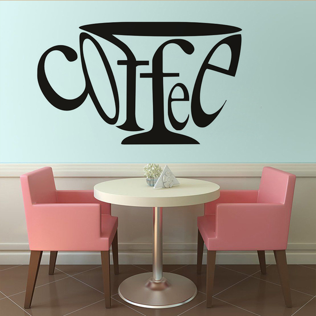 Funny Coffee Cup DIY Wall Sticker For Living Room Kitchen Home Decor Removable Wallpaper Art Decal Shop Decoration