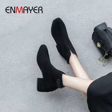 EMMAYER Ankle Boots for Women Square Heel Kid Suede Women Shoes Basic Round ToeWinter Short Plush Winter Boots Women Size 34-39 стоимость
