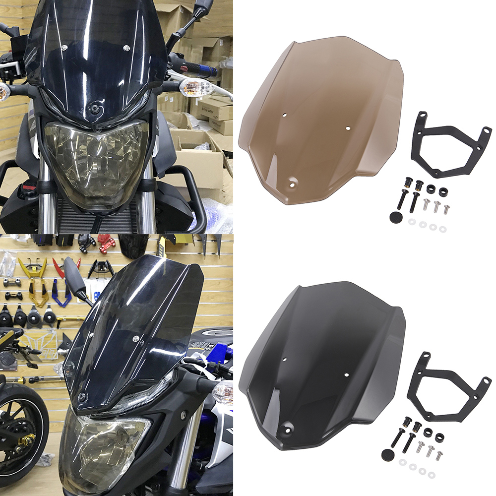Moto Touring Sport Corrida Windshield Windscreen Shield Tela com Suporte De Montagem para 2016-2018 Yamaha MT 03 MT-03 MT03