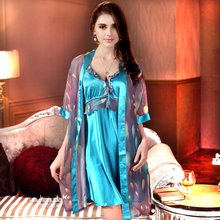 Шелковые пижамы женщина сексуальная Four seasons установить спагетти ремень ночной рубашке женщина халат twinset