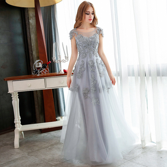New New New Long Dresses Grey Lace Embroidery Beading Party Gown