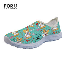 FORUDESIGNS Nursing Bear 3D Pattern Brand Women Flats Shoes Summer Casual Slip-on Ladies Shoes Woman Comfortable Sneakers Light forudesigns summer popular women super light mesh shoes flower pattern breathable slip on flats female casual beach water shoes
