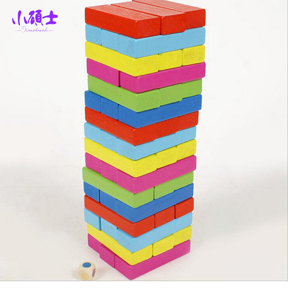 48PCS Colourful Wooden Tower Jenga Building Blocks For Children Kids Educational Intelligence Bricks Model Games Adult Toys wooden tower wood building blocks kids toy domino 54pcs stacker extract building blocks children educational game gift 4pcs dice