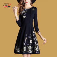 MLinina Autumn Winter Dress Women 2019 Black Embroidery Vintage Dresses Casual V Neck Short Dress Plus Size Vestidos Mujer