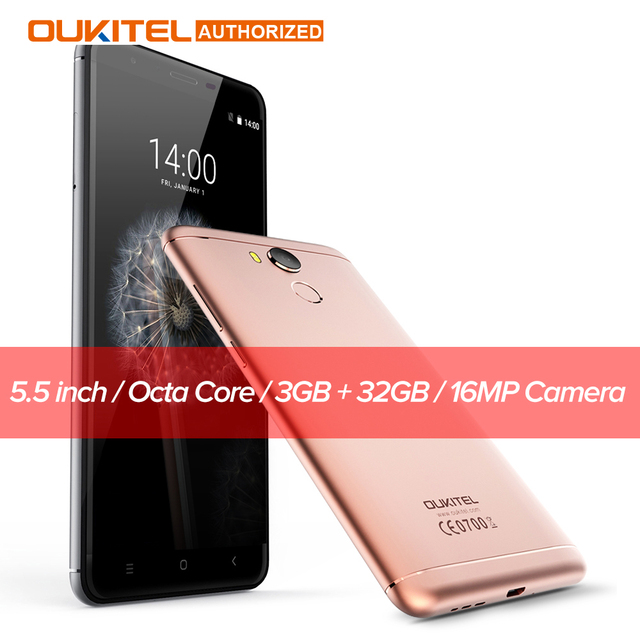 Oukitel U15 Pro Android 6.0 5.5 inch 4G Smartphone MTK6753 Octa Core 3GB RAM 32GB ROM 13.0MP Camera Fingerprint Mobile Phone