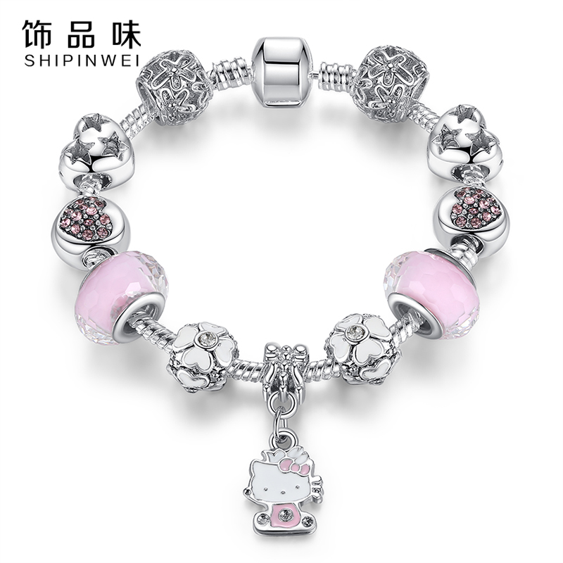 product Cute Cat Hello Kitty Charms Fit Original Bracelet Bangle Murano Glass Beads Bracelet for Women Children Girl DIY Jewelry