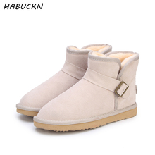 HABUCKN Top Quality New Fashion Genuine Cowhide Leather  Snow Boots Classic Mujer Botas Winter Shoes for Women ankle boots miyagina top quality new fashion genuine sheepskin leather snow boots 100