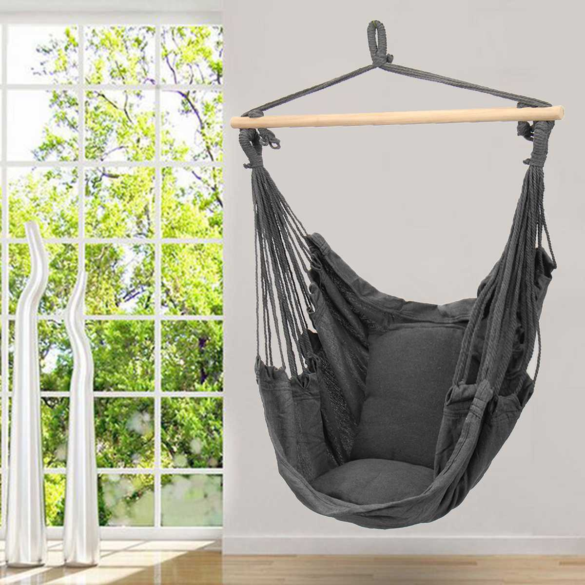 Hanging Hammock Chair Swinging Garden Outdoor Soft Cushions Seat 220KG Dormitory Bedroom Hanging Chair