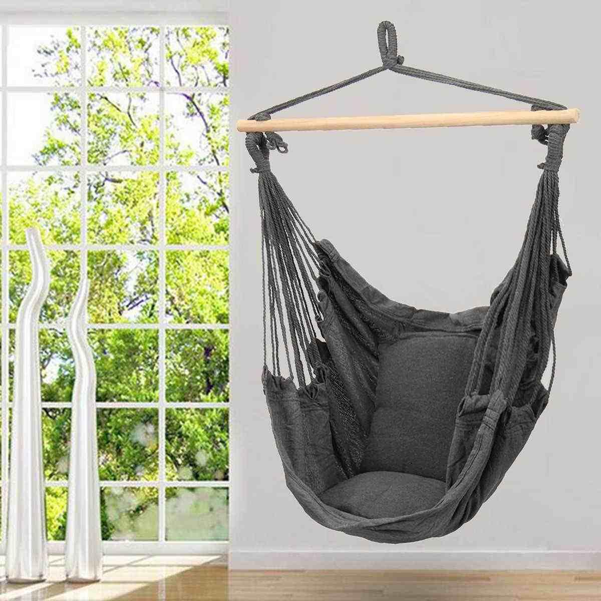 Hanging Hammock Chair Swinging Garden Outdoor Soft Cushions