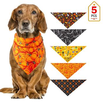 5PCS/Set Halloween Dog Triangular Bandage Pet Saliva Towel Dog Scarf Skull Pumpkin Print Bandanas for Halloween Party Decor 20E