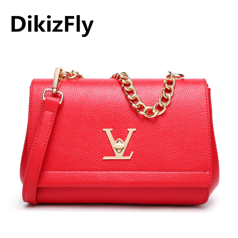 DikizFly! Hot New Fashion designer handbags V lock women bags Chains Flap  shoulder messenger bags tote bag luxury brand handbag 6aaa589f12ee0