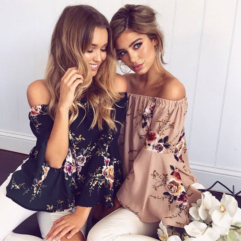 ELSVIOS Sexy Floral Print Chiffon Women   Blouse     Shirt   Summer Off Shoulder   Blouses   Casual Flare Sleeve Tops Blusa Feminina 3XL