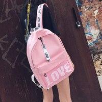 Pink Print Letter School Backpack Women School Bag Back Pack Leisure Korean Ladies Knapsack Laptop Travel