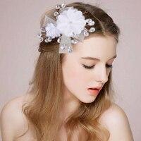 New Arrivals Women Ladies White Flower Hearwear Lace Rhinestone Floral Wedding Bridal Hair Accessories Hairbands High Quality