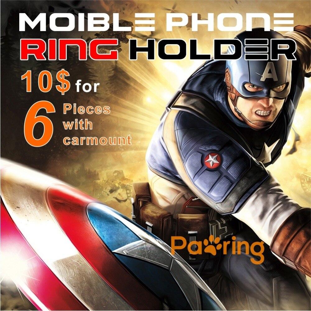 imágenes para Super hero tema universal del teléfono móvil del sostenedor del anillo con pegamento de silicona reutilizable 10 dólares para 6 unidades el envío libre