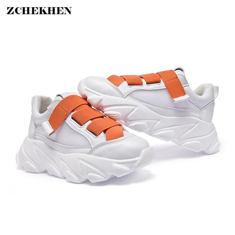 Baskets Femme papa couleur tissage ruban Baskets plateforme Baskets compensées Baskets Chunky vulcaniser Chaussures Femme