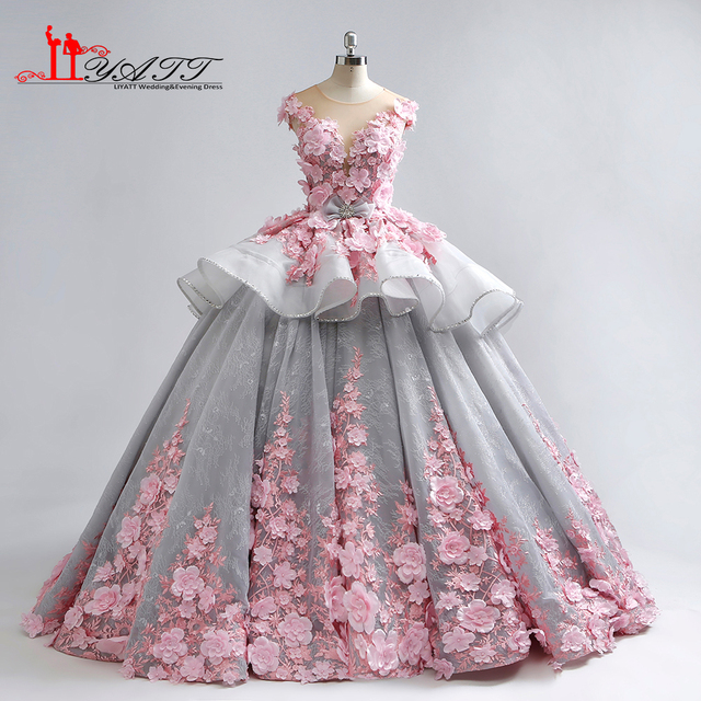 LIYATT 2018 Arabic Grey Pink Luxury Ball Gown Amazing Puffy 3D Flowers  Appliques Formal Evening Prom Dresses Custom Made cb0304221