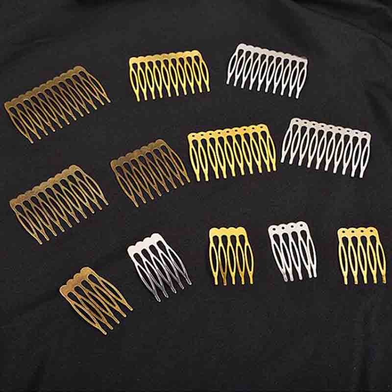 5pcs/lot Gold Rhodium Color 5/10/12 Teeth Hair Comb Hair Clips Claw Hairpins for Wedding Hair Jewelry DIY Findings & Components