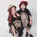 Mother and Daughter Dress Cottton Family Clothing Totem printed Black Vest Dress with Tassel Matching Mother Daughter Clothes