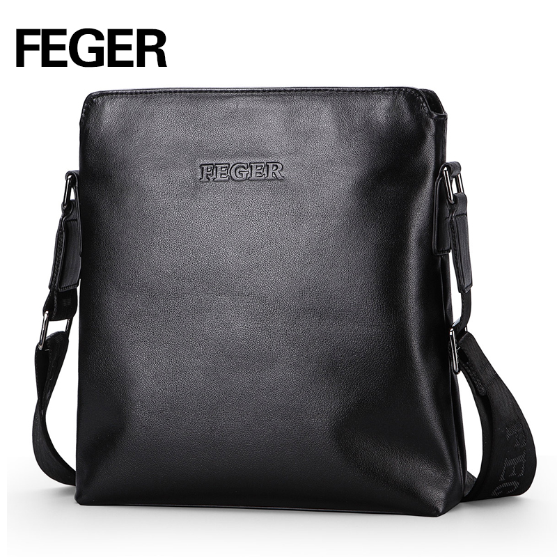 FEGER Genuine Leather Men s Business Shoulder Bag Casual Cowhide Crossbody Bags For men