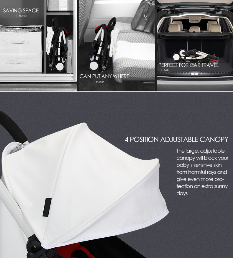 Travel Friendly Lightweight Baby Stroller – White