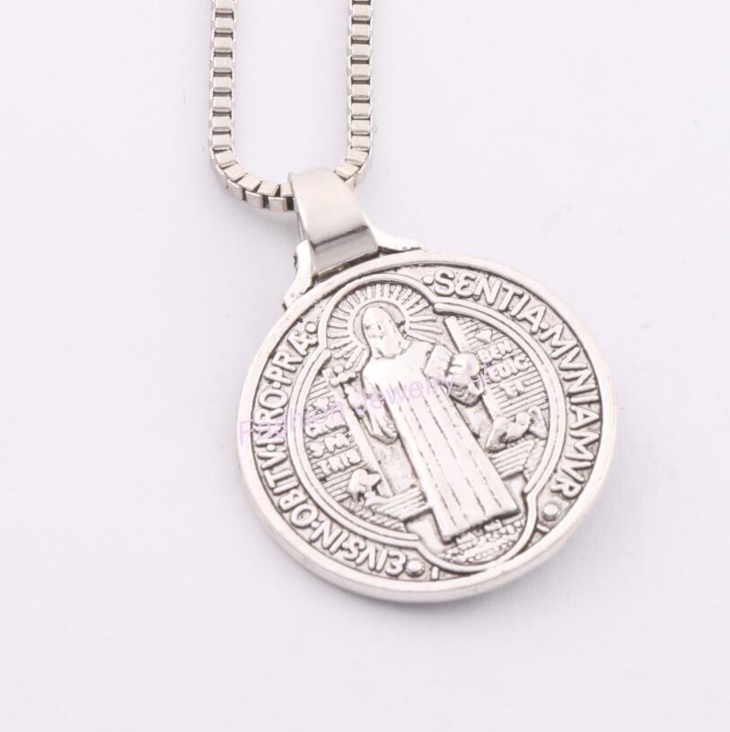 HTB1NViIMpXXXXbiXpXXq6xXFXXXH - Saint Jesu Benedict Nursia Patron Medal Crucifix Cross Religious Antique Silver Pendant Necklaces 24 inches Chains 24x21mm PTC 270
