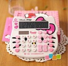 Cute Hello Kitty Calculator Cartoon Solar Digital Calculatrice Desktop Computer Calculating White & Pink Girl's Gift(China (Mainland))